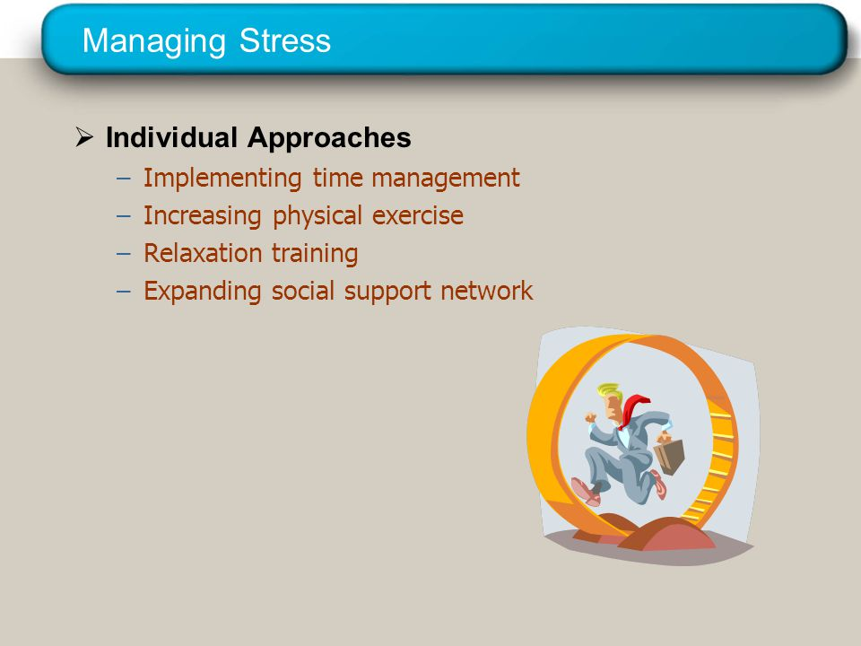 © 2005 Prentice Hall Inc. All rights reserved. Managing Stress  Individual Approaches –Implementing time management –Increasing physical exercise –Re