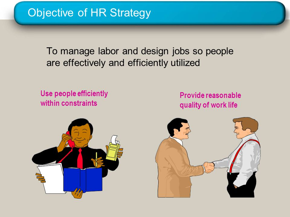 © 2005 Prentice Hall Inc. All rights reserved. Objective of HR Strategy To manage labor and design jobs so people are effectively and efficiently util