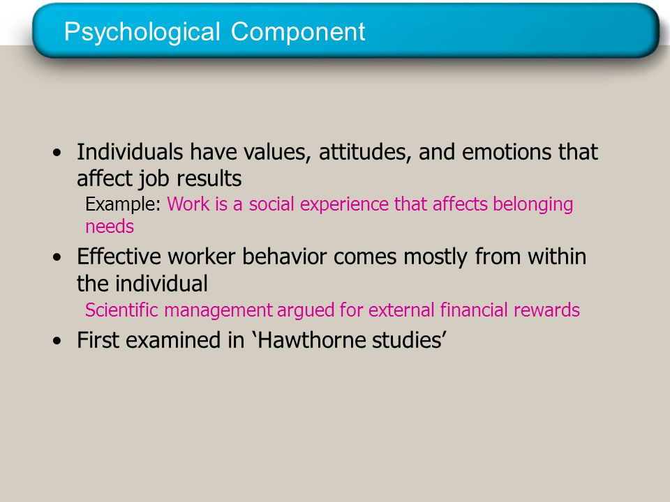 © 2005 Prentice Hall Inc. All rights reserved. Psychological Component Individuals have values, attitudes, and emotions that affect job results Exampl