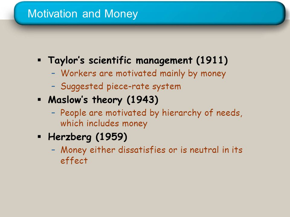 © 2005 Prentice Hall Inc. All rights reserved. Motivation and Money  Taylor's scientific management (1911) –Workers are motivated mainly by money –Su