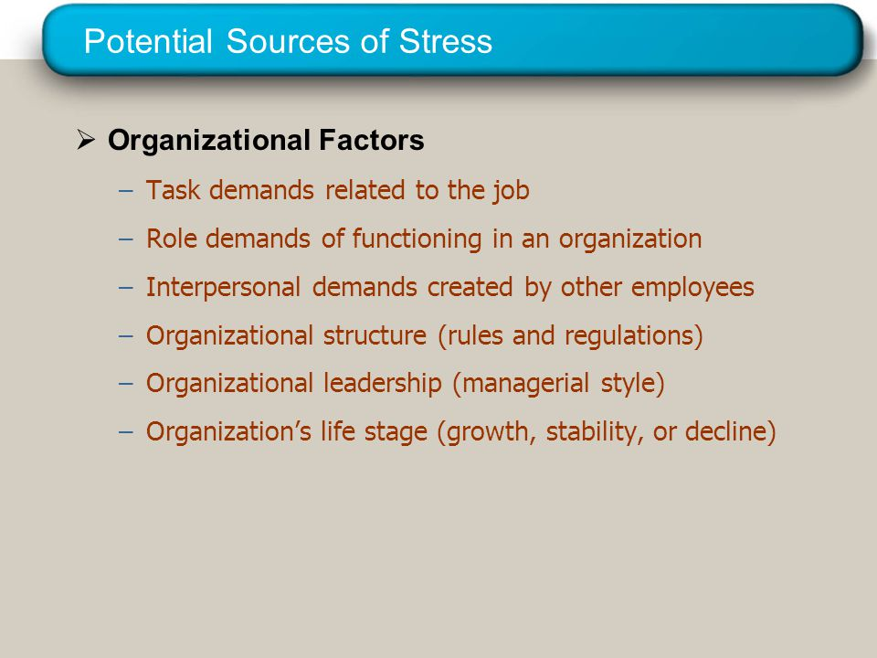 © 2005 Prentice Hall Inc. All rights reserved. Potential Sources of Stress  Organizational Factors –Task demands related to the job –Role demands of