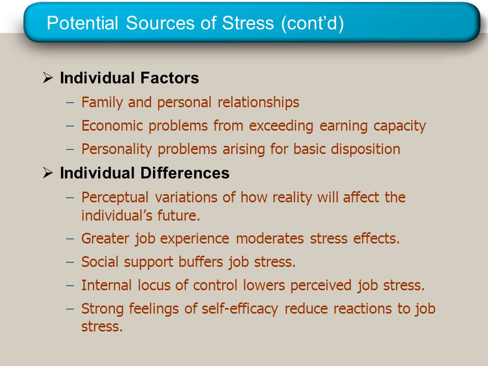 © 2005 Prentice Hall Inc. All rights reserved. Potential Sources of Stress (cont'd)  Individual Factors –Family and personal relationships –Economic