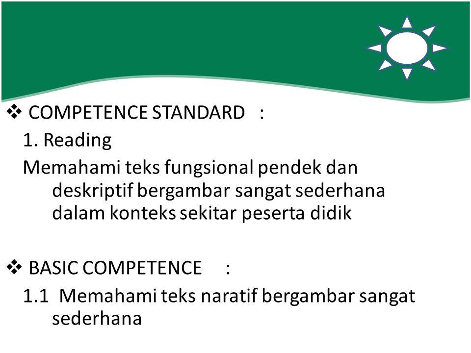  COMPETENCE STANDARD : 1. Reading Memahami teks fungsional pendek dan deskriptif bergambar sangat sederhana dalam konteks sekitar peserta didik  BAS