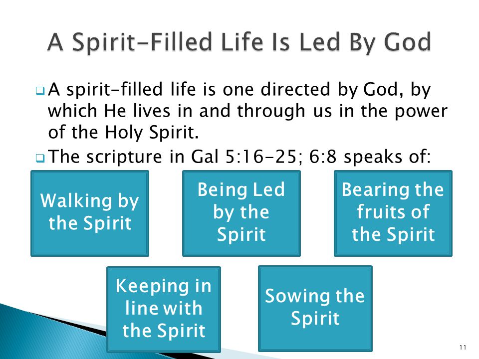  A spirit-filled life is one directed by God, by which He lives in and through us in the power of the Holy Spirit.  The scripture in Gal 5:16-25; 6: