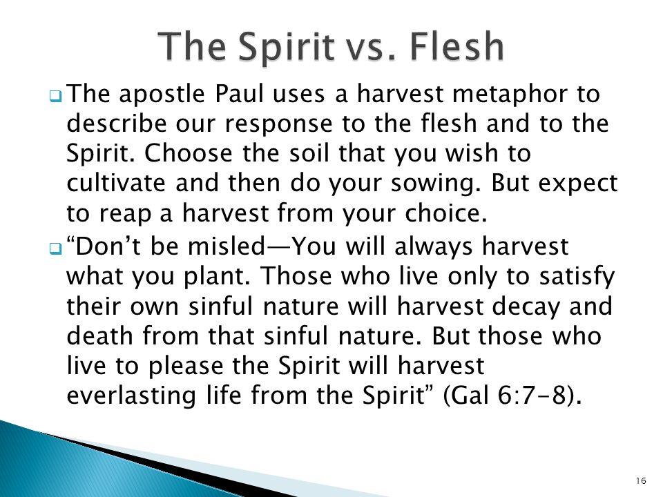  The apostle Paul uses a harvest metaphor to describe our response to the flesh and to the Spirit. Choose the soil that you wish to cultivate and the