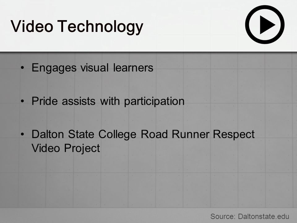 Video Technology Engages visual learners Pride assists with participation Dalton State College Road Runner Respect Video Project Source: Daltonstate.e