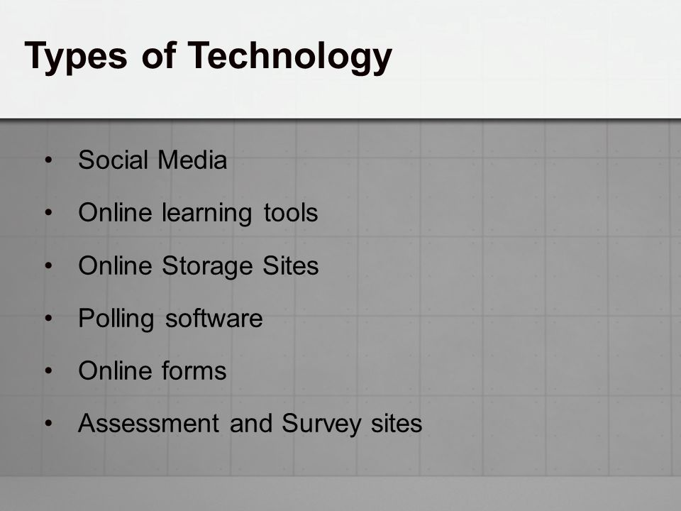 Types of Technology Social Media Online learning tools Online Storage Sites Polling software Online forms Assessment and Survey sites