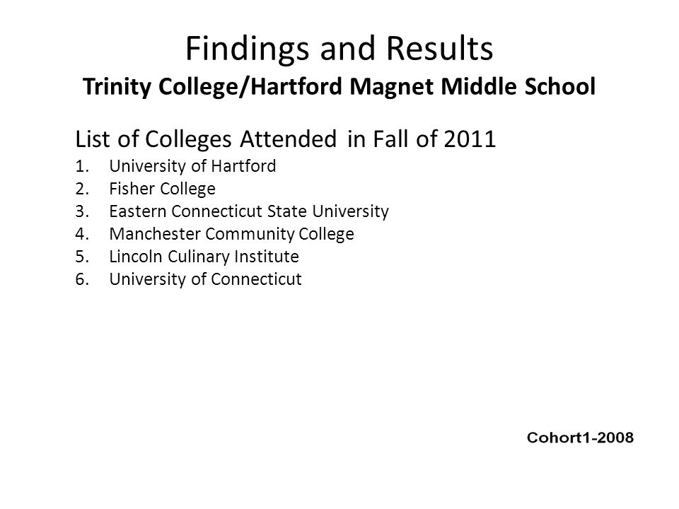 Findings and Results Trinity College/Hartford Magnet Middle School