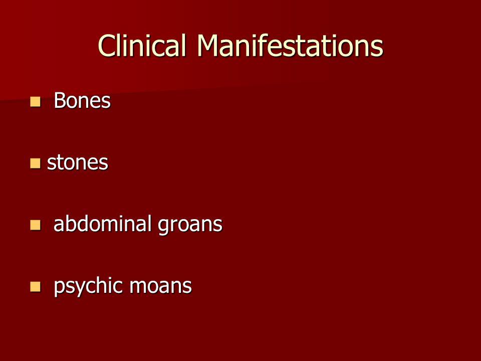 Clinical Manifestations Bones Bones stones stones abdominal groans abdominal groans psychic moans psychic moans