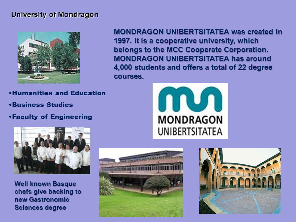 11 MONDRAGON UNIBERTSITATEA was created in 1997.