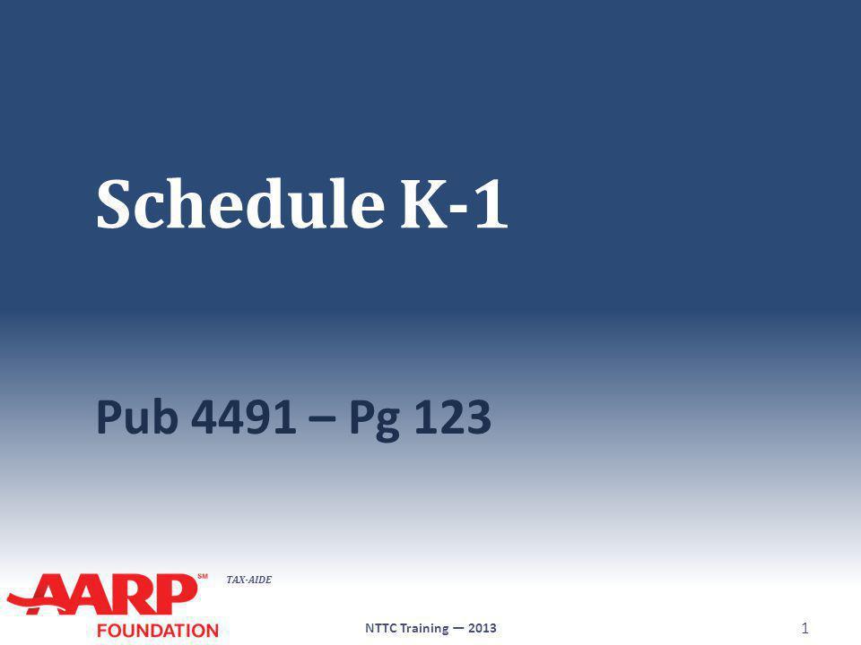 TAX-AIDE Schedule K-1 Pub 4491 – Pg 123 NTTC Training — 2013 1