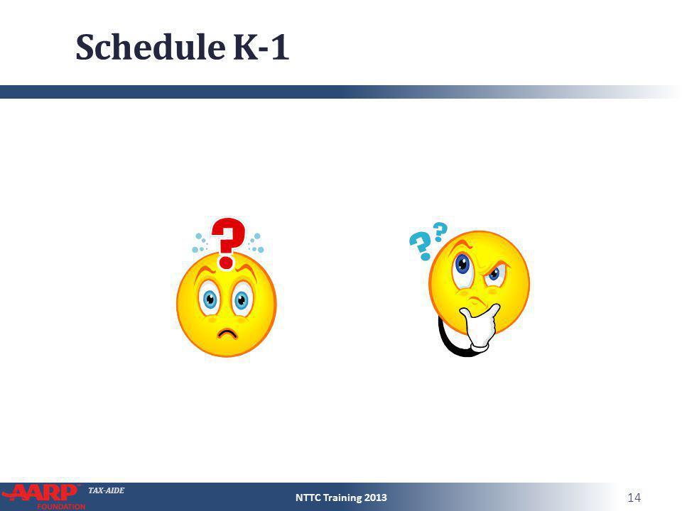 TAX-AIDE Schedule K-1 NTTC Training 2013 14