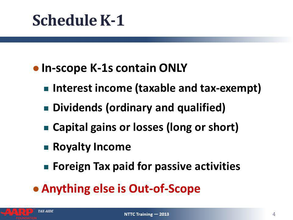 TAX-AIDE Schedule K-1 ● In-scope K-1s contain ONLY Interest income (taxable and tax-exempt) Dividends (ordinary and qualified) Capital gains or losses