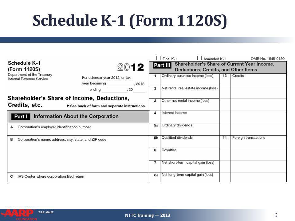 TAX-AIDE Schedule K-1 (Form 1120S) NTTC Training — 2013 6
