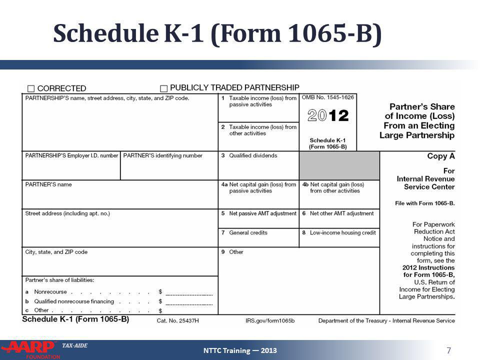 TAX-AIDE Schedule K-1 (Form 1065-B) NTTC Training — 2013 7
