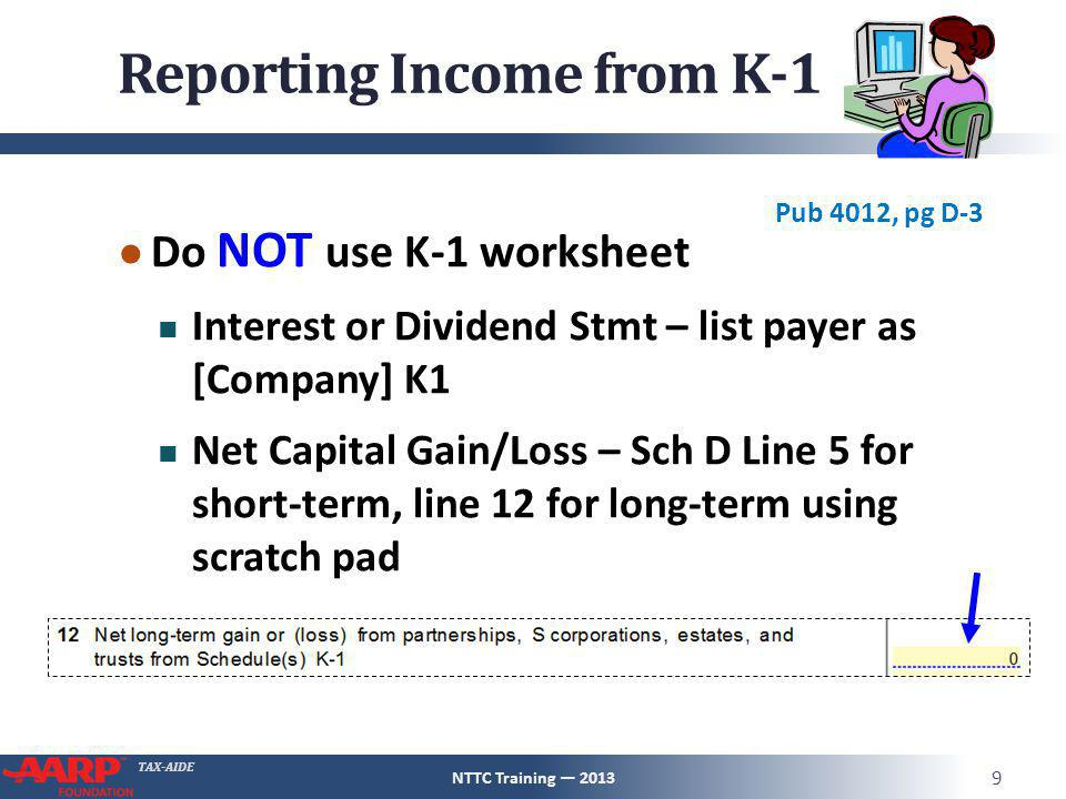 TAX-AIDE Reporting Income from K-1 ● Do NOT use K-1 worksheet Interest or Dividend Stmt – list payer as [Company] K1 Net Capital Gain/Loss – Sch D Lin
