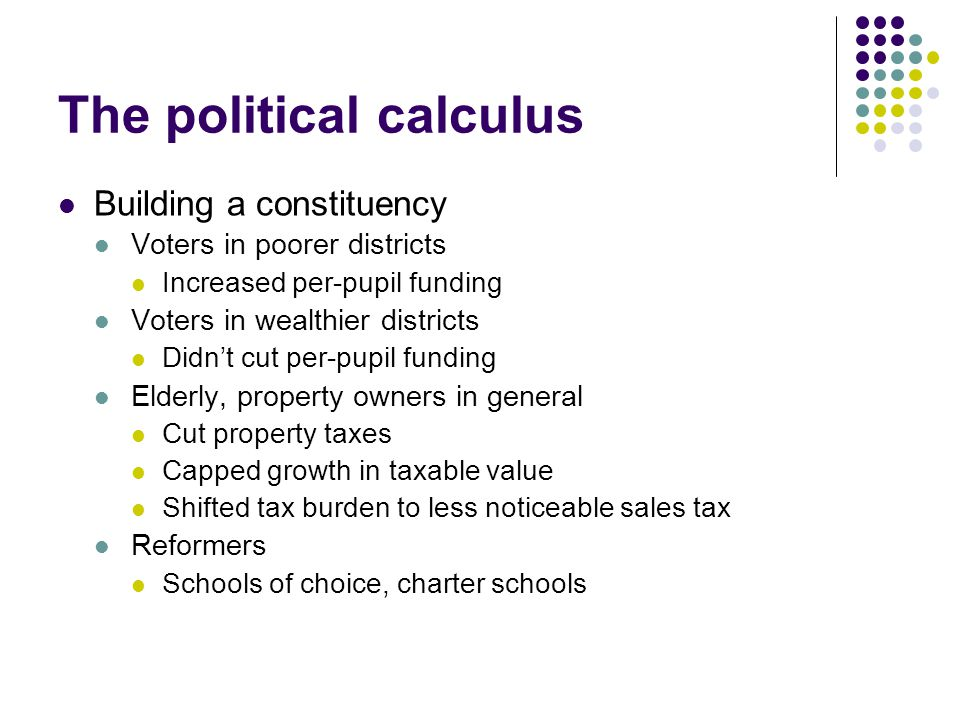 The political calculus Building a constituency Voters in poorer districts Increased per-pupil funding Voters in wealthier districts Didn't cut per-pupil funding Elderly, property owners in general Cut property taxes Capped growth in taxable value Shifted tax burden to less noticeable sales tax Reformers Schools of choice, charter schools