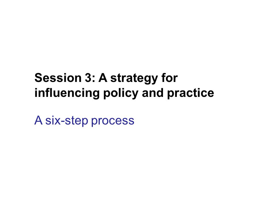 Session 3: A strategy for influencing policy and practice A six-step process