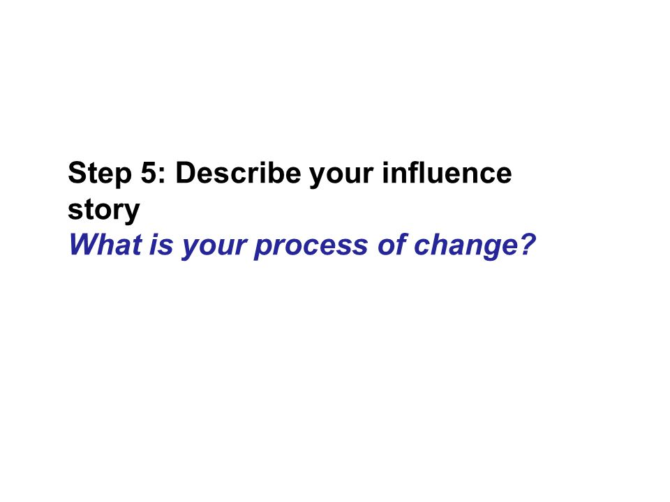 Step 5: Describe your influence story What is your process of change?