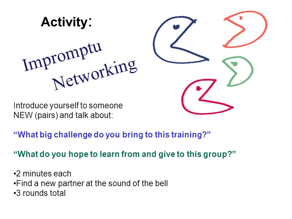 Introduce yourself to someone NEW (pairs) and talk about: What big challenge do you bring to this training? What do you hope to learn from and give to this group? 2 minutes each Find a new partner at the sound of the bell 3 rounds total Networking Impromptu Activity :