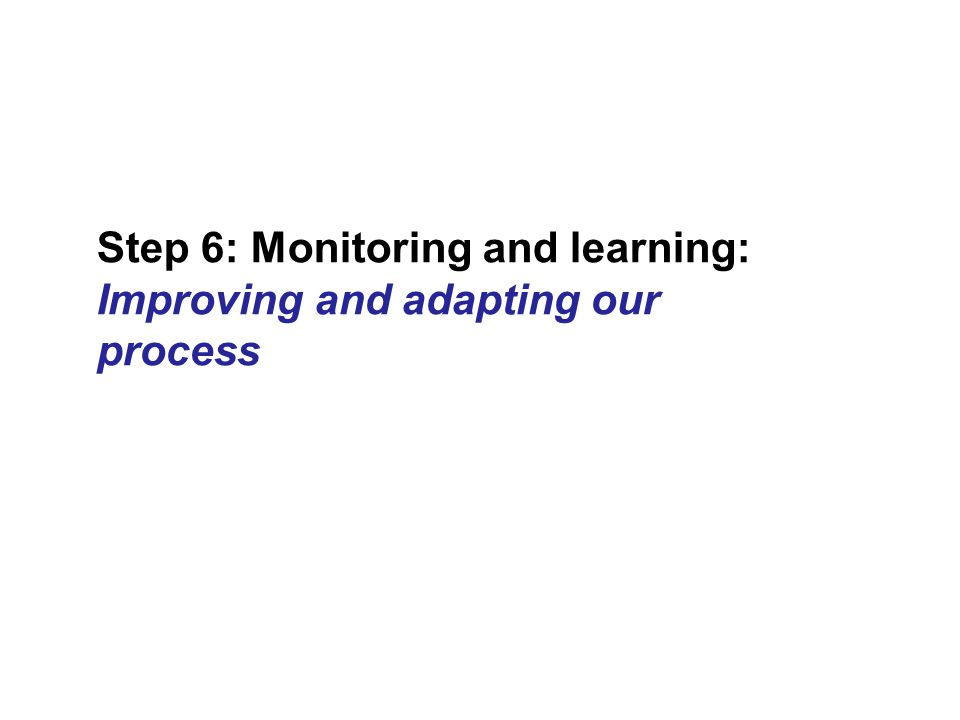 Step 6: Monitoring and learning: Improving and adapting our process
