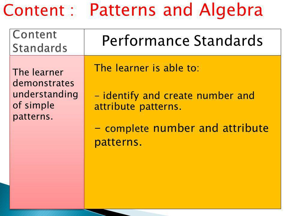 Performance Standards Content : Patterns and Algebra - identify and create number and attribute patterns.
