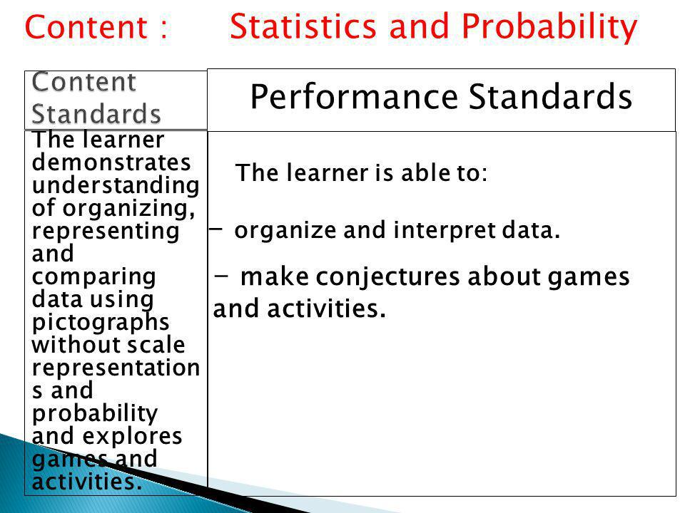 Performance Standards The learner demonstrates understanding of organizing, representing and comparing data using pictographs without scale representation s and probability and explores games and activities.