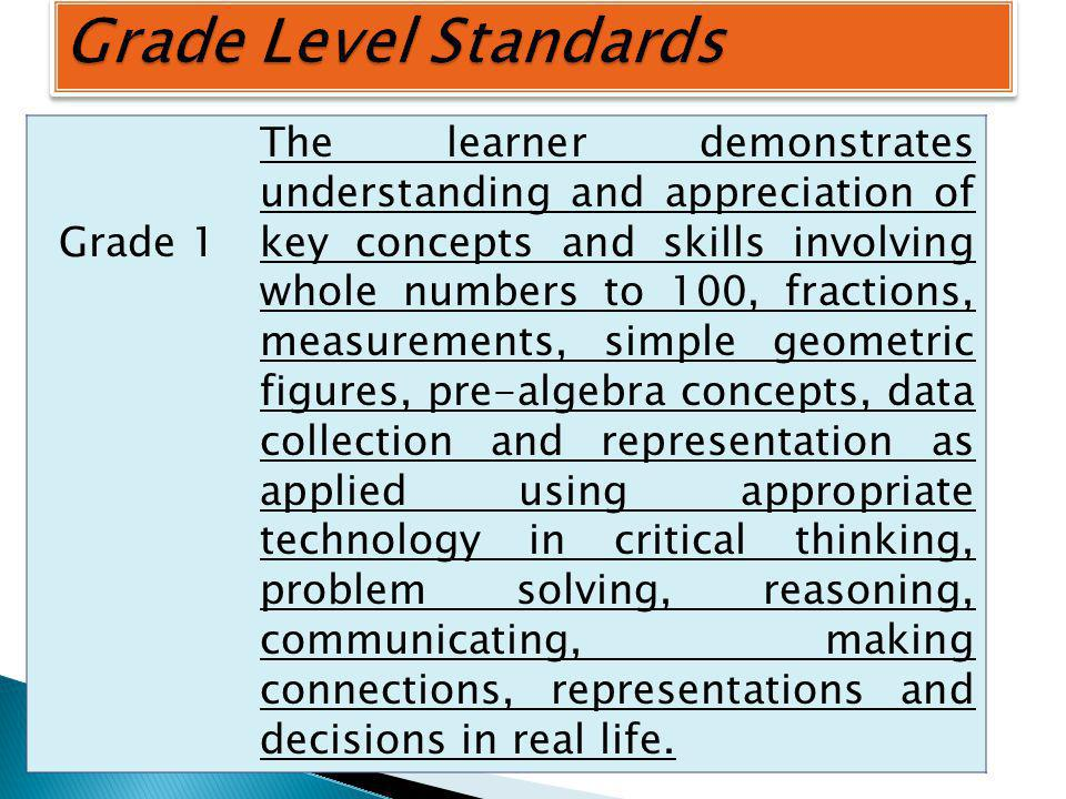 Grade 1 The learner demonstrates understanding and appreciation of key concepts and skills involving whole numbers to 100, fractions, measurements, simple geometric figures, pre-algebra concepts, data collection and representation as applied using appropriate technology in critical thinking, problem solving, reasoning, communicating, making connections, representations and decisions in real life.