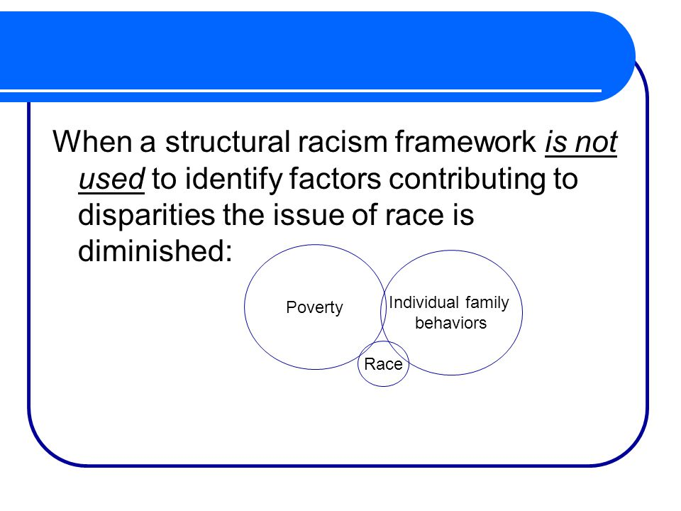 When a structural racism framework is not used to identify factors contributing to disparities the issue of race is diminished: Poverty Individual family behaviors Race