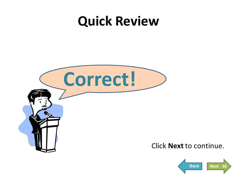 Quick Review Correct! Click Next to continue. 55