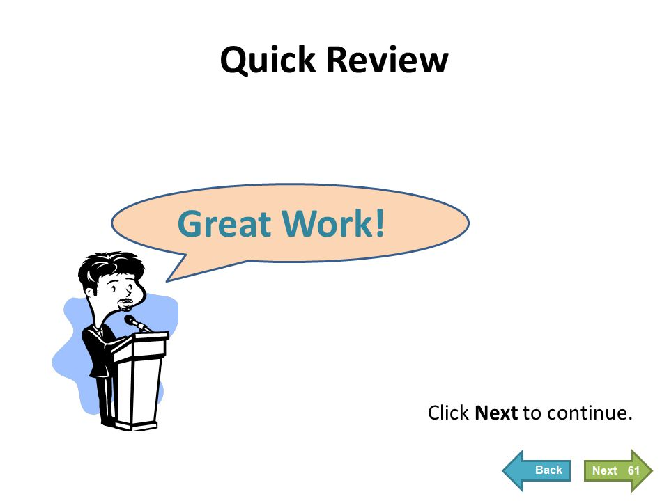 Quick Review Great Work! Click Next to continue. 61