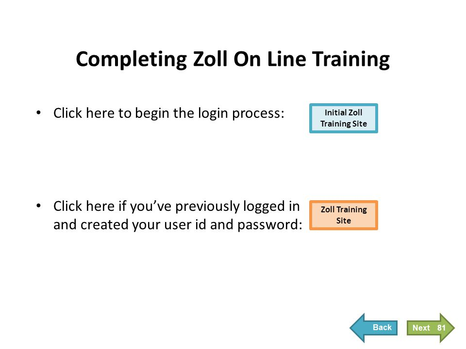 Click here to begin the login process: Click here if you've previously logged in and created your user id and password: Initial Zoll Training Site Zol