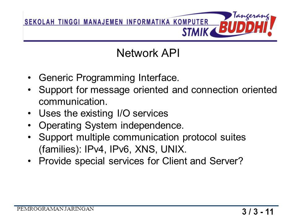 PEMROGRAMAN JARINGAN TCP/IP There are a variety of APIs for use with TCP/IP: Sockets TLI Winsock MacTCP 3 / 4 - 11