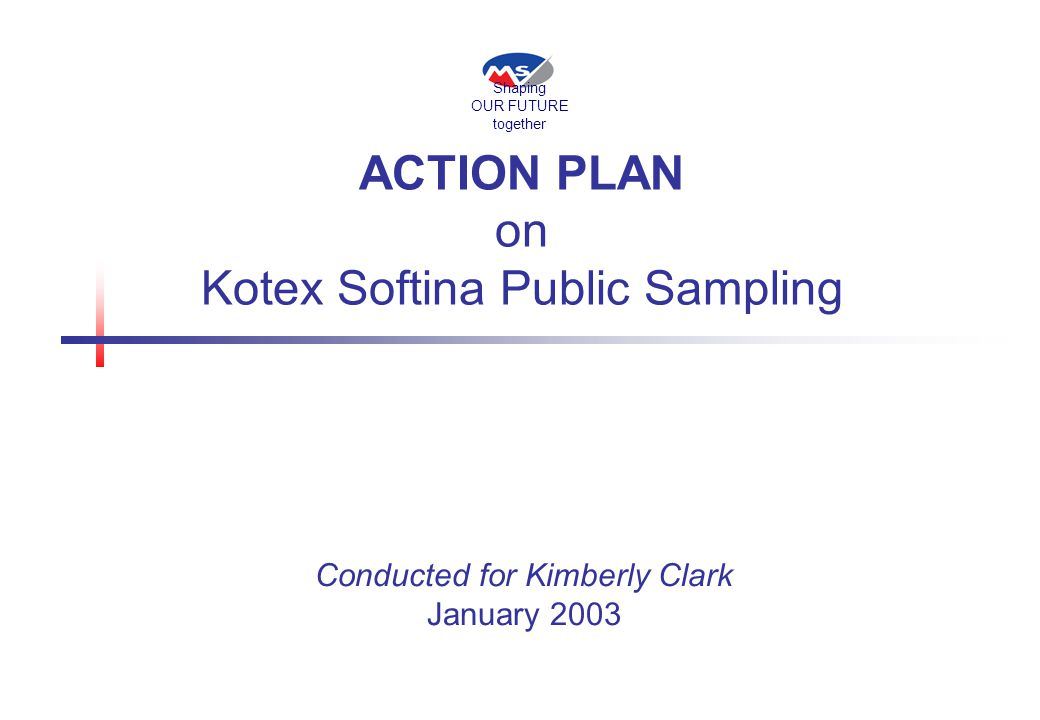 ACTION PLAN on Kotex Softina Public Sampling January 2003 Conducted for Kimberly Clark Shaping OUR FUTURE together