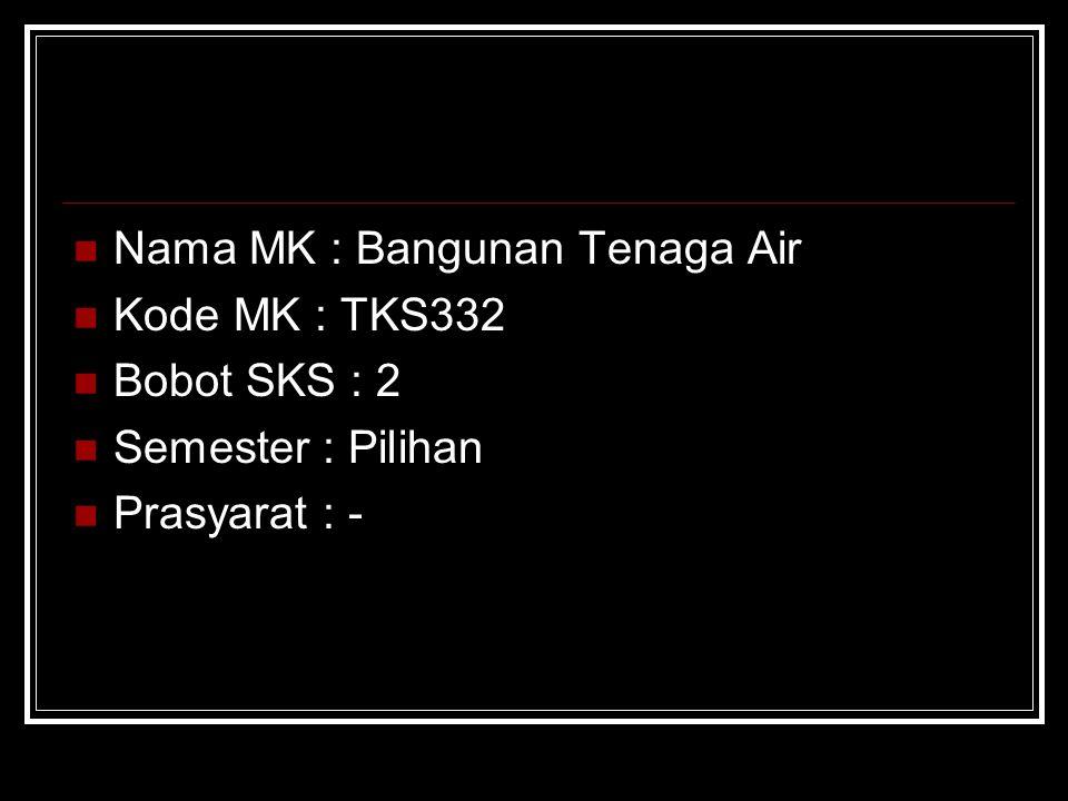 Nama MK : Bangunan Tenaga Air Kode MK : TKS332 Bobot SKS : 2 Semester : Pilihan Prasyarat : -