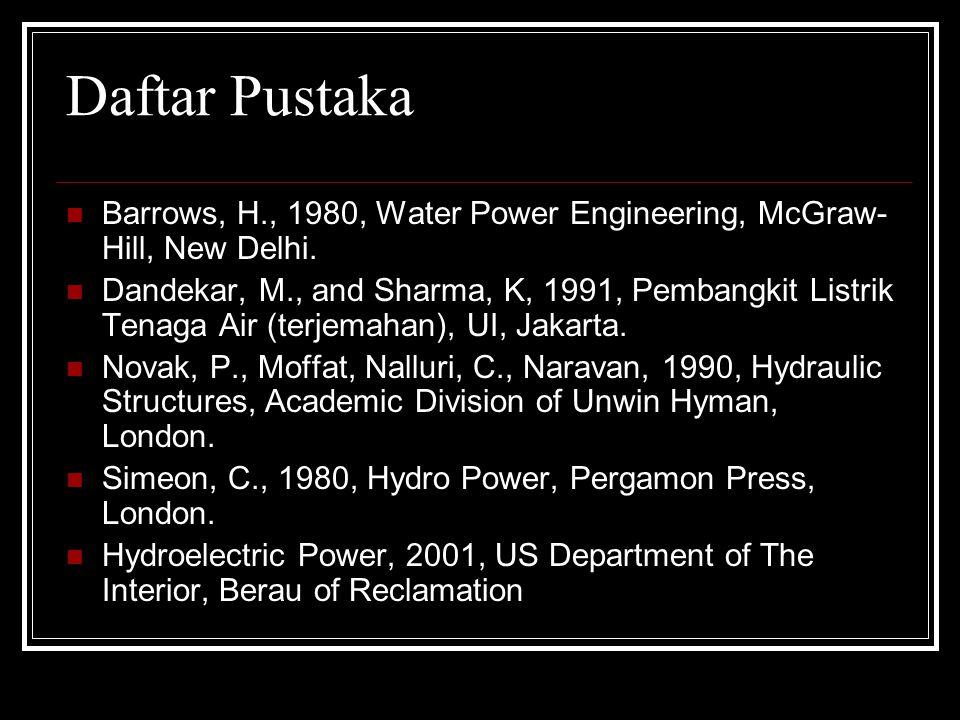 Daftar Pustaka Barrows, H., 1980, Water Power Engineering, McGraw- Hill, New Delhi. Dandekar, M., and Sharma, K, 1991, Pembangkit Listrik Tenaga Air (