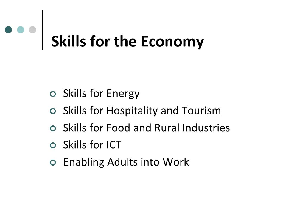 Skills for the Economy Skills for Energy Skills for Hospitality and Tourism Skills for Food and Rural Industries Skills for ICT Enabling Adults into Work