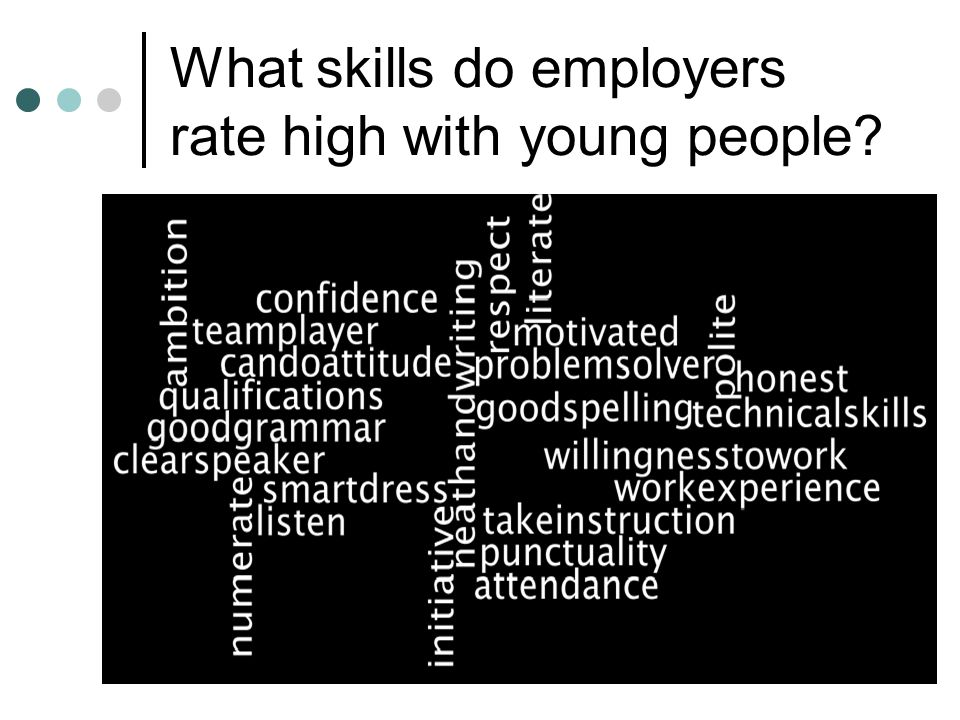 Employers Top 10 Attendance Listen to instruction Respect Teamplayer Literacy Numeracy Smartly dressed Can do attitude/self confidence Communication/social skills Qualifications (not technical)