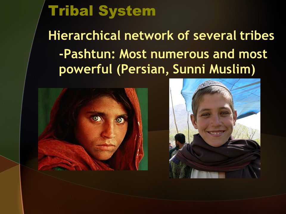 Tribal System Hierarchical network of several tribes -Pashtun: Most numerous and most powerful (Persian, Sunni Muslim)