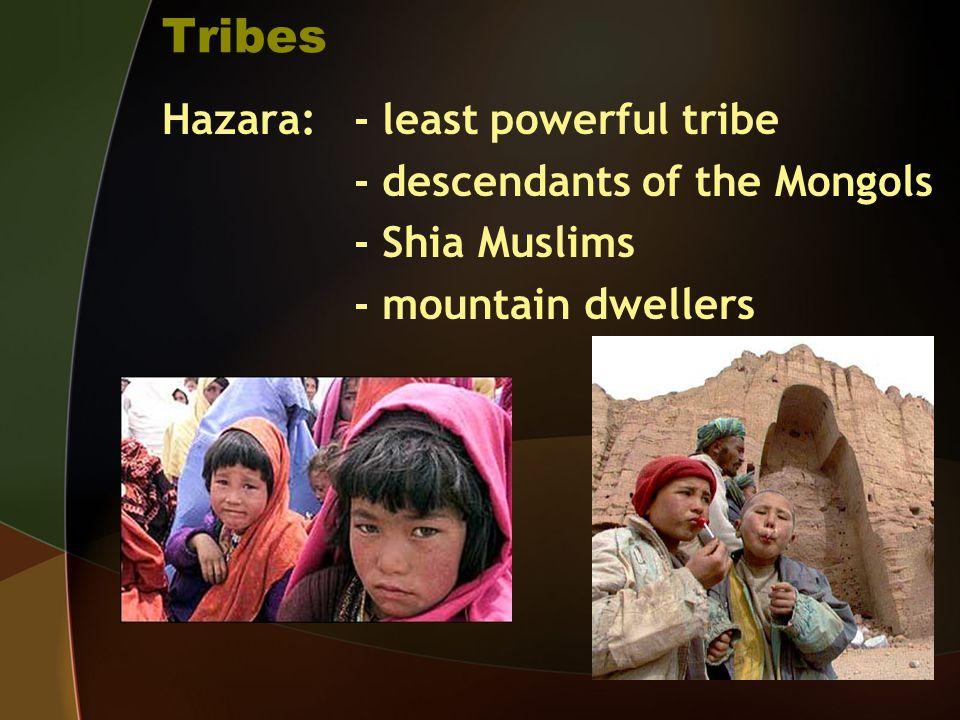 Tribes Hazara: - least powerful tribe - descendants of the Mongols - Shia Muslims - mountain dwellers