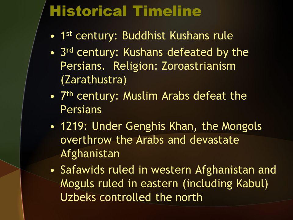 Historical Timeline 1 st century: Buddhist Kushans rule 3 rd century: Kushans defeated by the Persians. Religion: Zoroastrianism (Zarathustra) 7 th ce