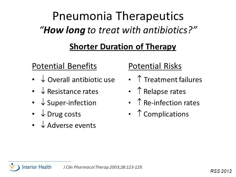 Pneumonia Therapeutics How long to treat with antibiotics Potential Benefits  Overall antibiotic use  Resistance rates  Super-infection  Drug costs  Adverse events Potential Risks  Treatment failures  Relapse rates  Re-infection rates  Complications J Clin Pharmacol Therap 2003;28:123-129.