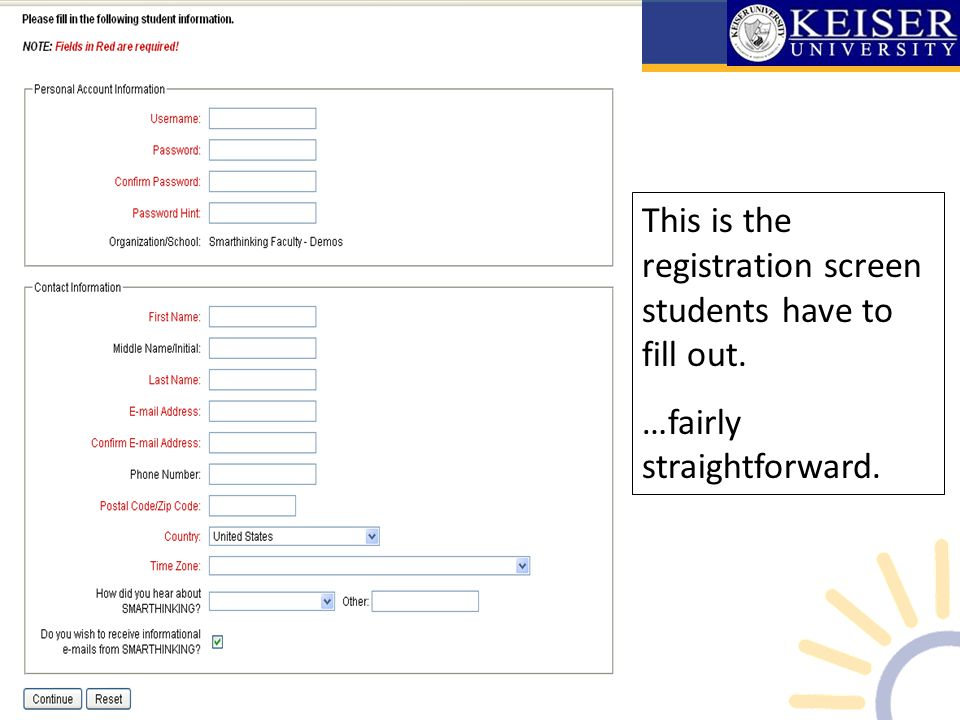 This is the registration screen students have to fill out. …fairly straightforward.