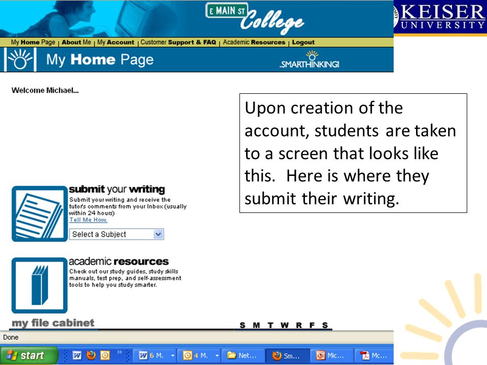 Upon creation of the account, students are taken to a screen that looks like this. Here is where they submit their writing.