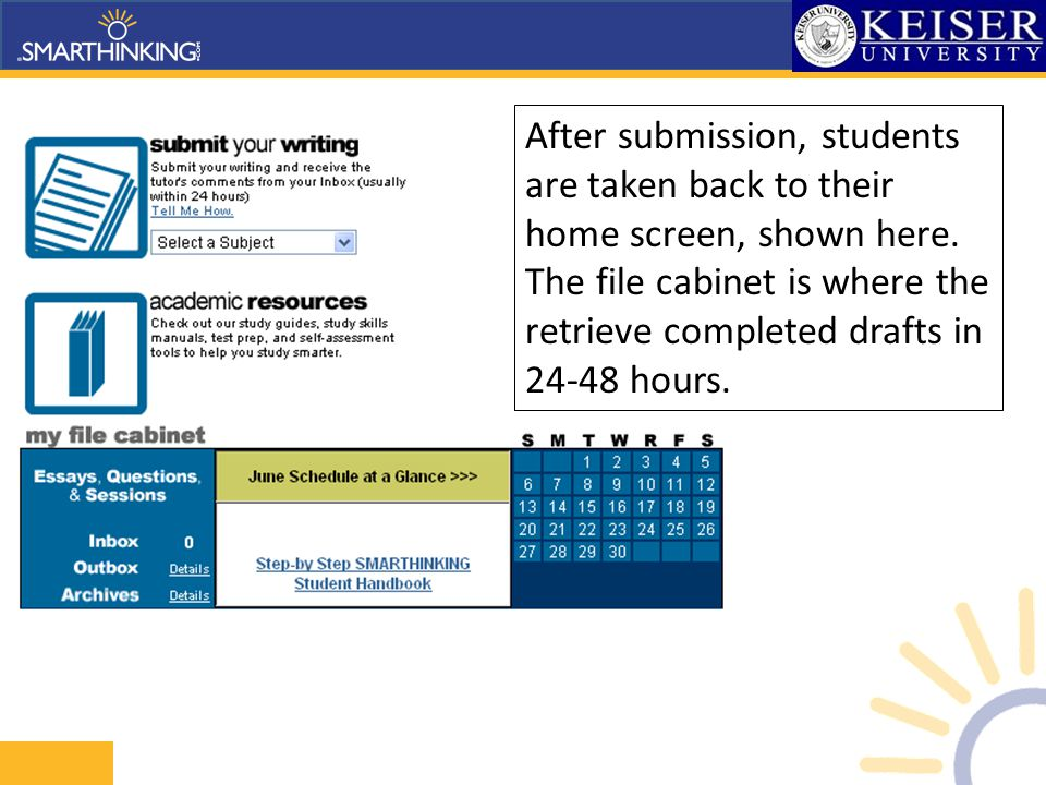 After submission, students are taken back to their home screen, shown here.