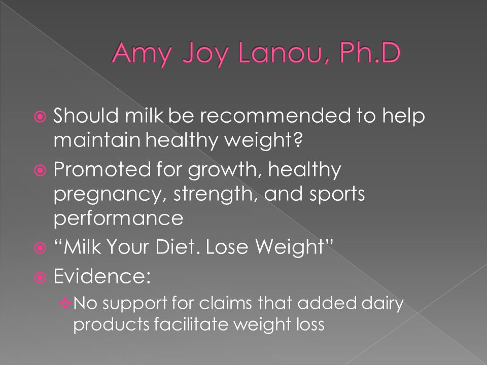  Should milk be recommended to help maintain healthy weight.