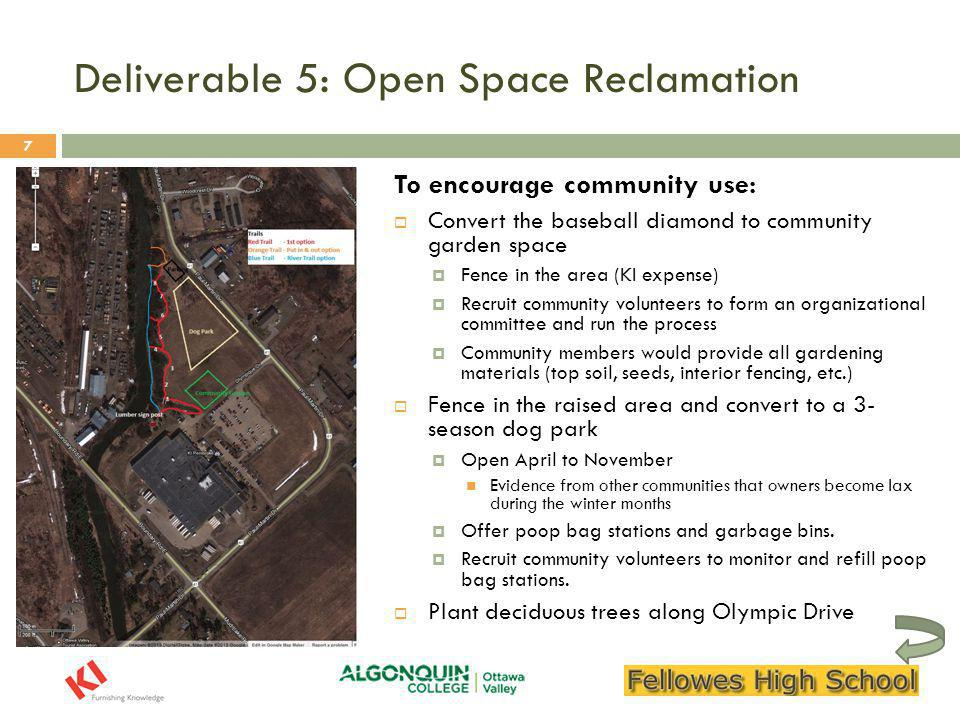 Conclusion, Questions, and Initial Feedback  To recap, we are recommending:  An area to get outside on break and take in the natural environment (underway),  A trail above the Muskrat River,  Activity and interpretive signage along the trail, and  A dog park and community garden to promote KI and community involvement  Any other questions or initial feedback.