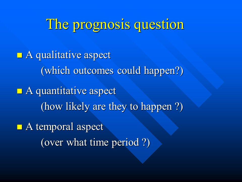 The prognosis question A qualitative aspect A qualitative aspect (which outcomes could happen?) A quantitative aspect A quantitative aspect (how likel