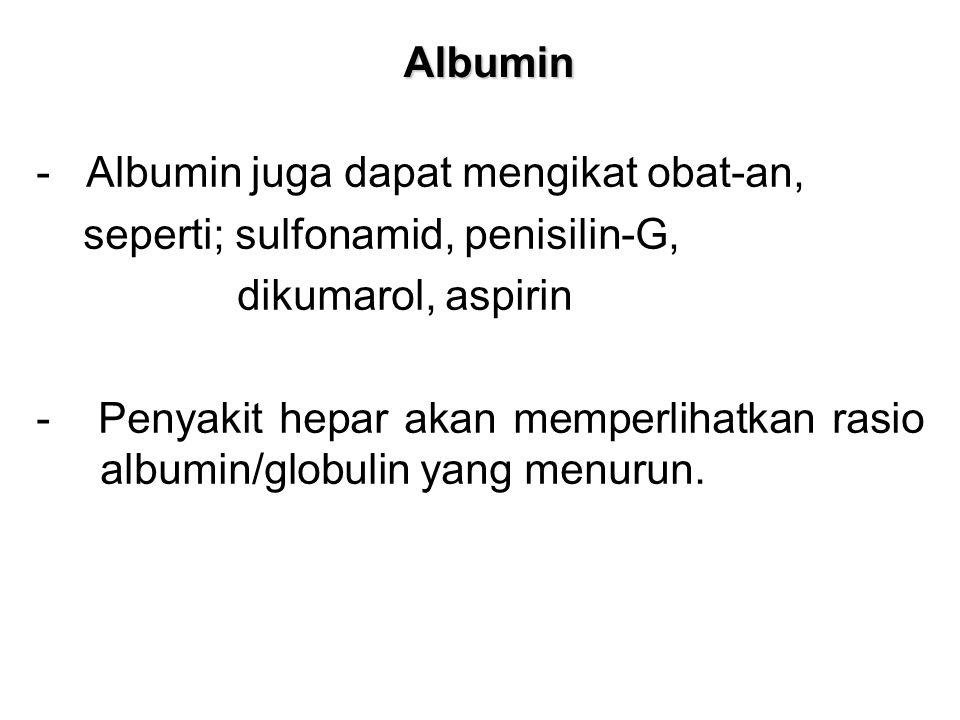 Albumin - Albumin juga dapat mengikat obat-an, seperti; sulfonamid, penisilin-G, dikumarol, aspirin - Penyakit hepar akan memperlihatkan rasio albumin