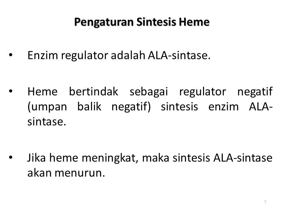 Pengaturan Sintesis Heme Enzim regulator adalah ALA-sintase. Heme bertindak sebagai regulator negatif (umpan balik negatif) sintesis enzim ALA- sintas